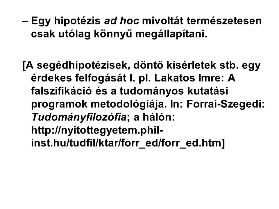 –Egy hipotézis ad hoc mivoltát természetesen csak utólag könnyű megállapítani.