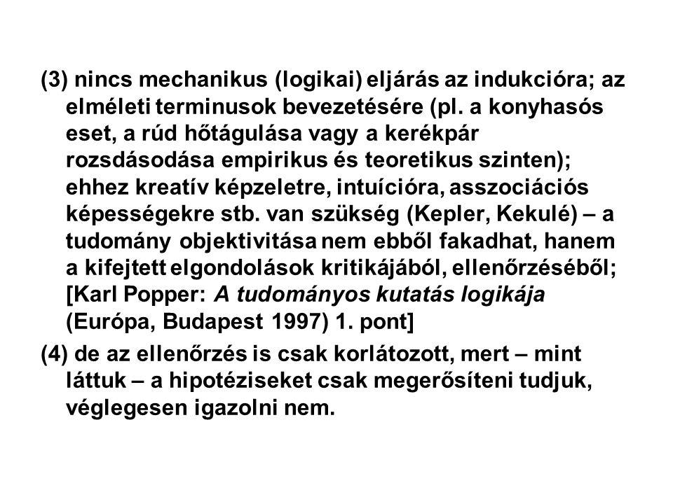 (3) nincs mechanikus (logikai) eljárás az indukcióra; az elméleti terminusok bevezetésére (pl.