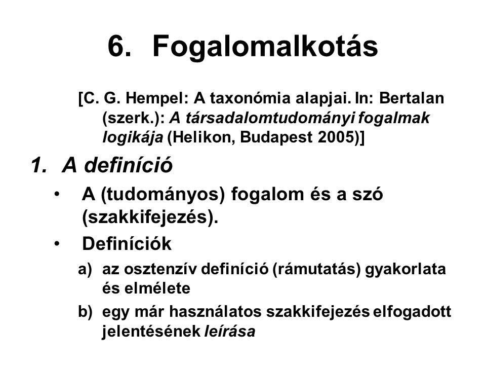1)tartalmi vagy analitikus definíció (az intenzióra alapozva) 2)az alkalmazási terület meghatározása (az extenzióra alapozva) Az analitikus definíció szerkezete: A definiendumnak (a meghatározandó kifejezésnek) ugyanaz a jelentése, mint a definiensnek (a meghatározó kifejezésnek).