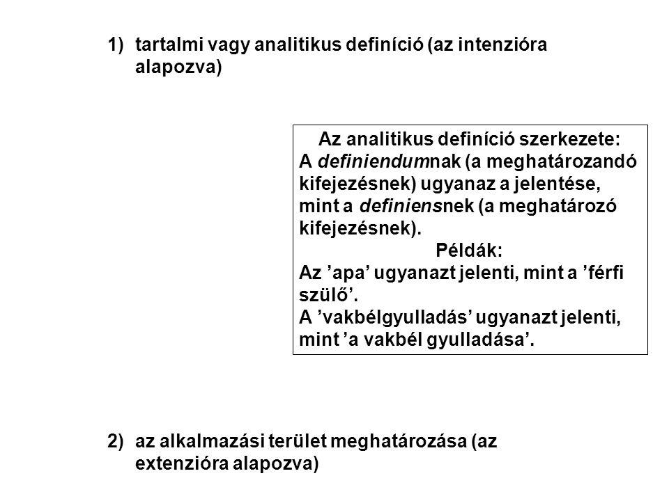 c)egy újonnan bevezetett kifejezés vagy egy sajátos technikai értelem előírása (megállapodás) – amely természetesen nem igaz vagy hamis Az előíró definíció szerkezete: A definiendumnak jelentésének ugyanannak kell lennie, mint a definiensnek.