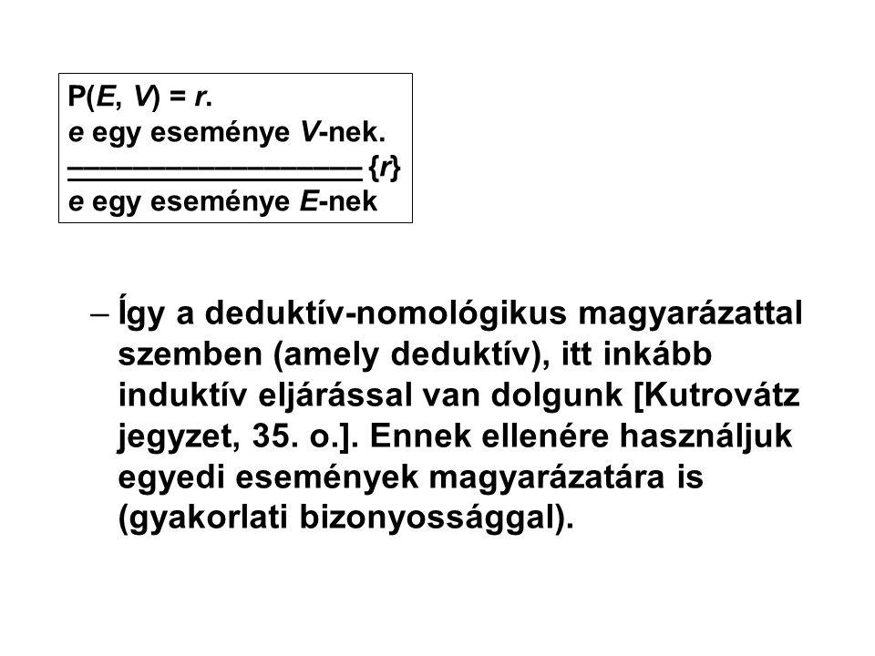 –Így a deduktív-nomológikus magyarázattal szemben (amely deduktív), itt inkább induktív eljárással van dolgunk [Kutrovátz jegyzet, 35. o.]. Ennek elle