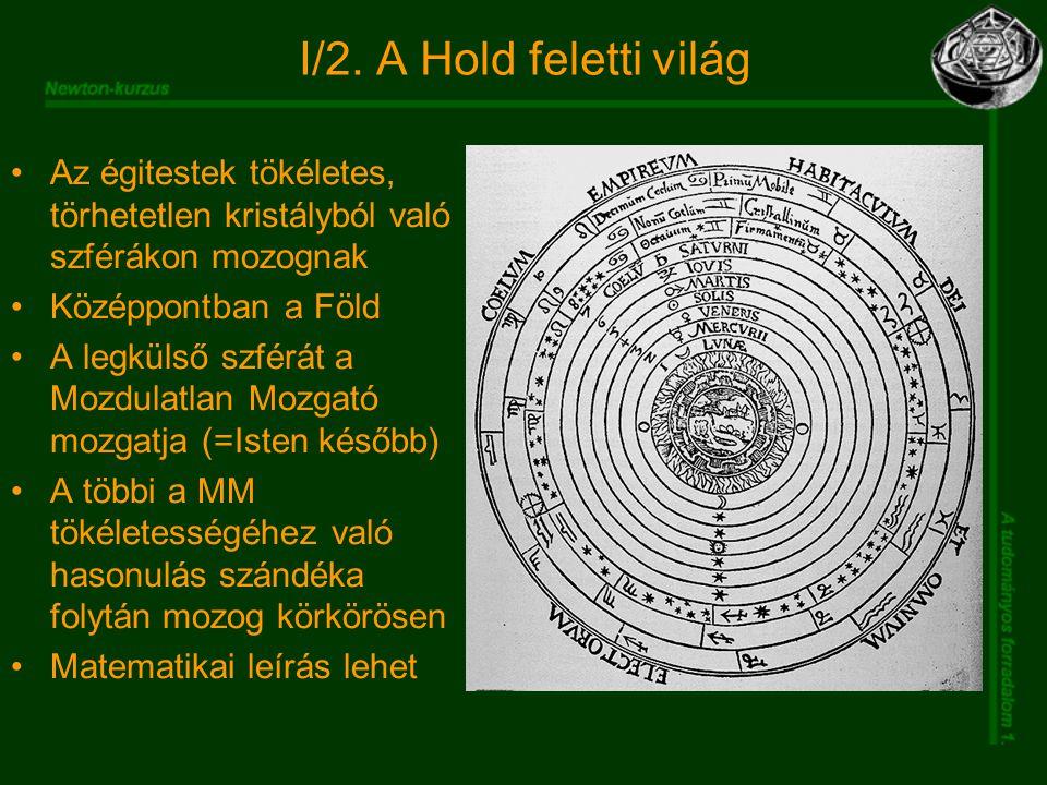 I/2. A Hold feletti világ Az égitestek tökéletes, törhetetlen kristályból való szférákon mozognak Középpontban a Föld A legkülső szférát a Mozdulatlan
