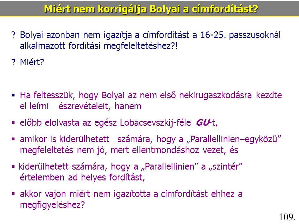 Bolyai azonban nem igazítja a címfordítást a 16-25.