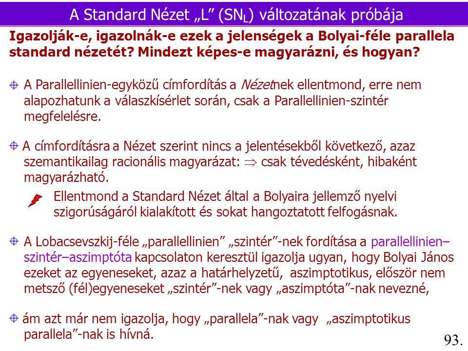 Igazolják-e, igazolnák-e ezek a jelenségek a Bolyai-féle parallela standard nézetét.
