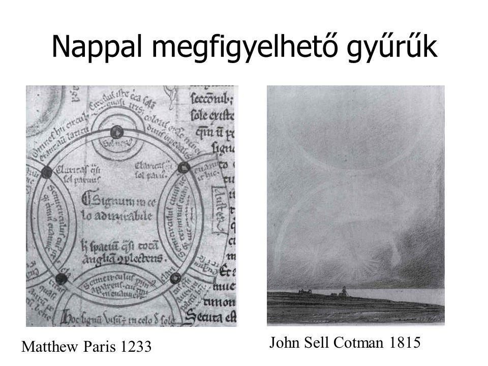 Nappal megfigyelhető gyűrűk Matthew Paris 1233 John Sell Cotman 1815