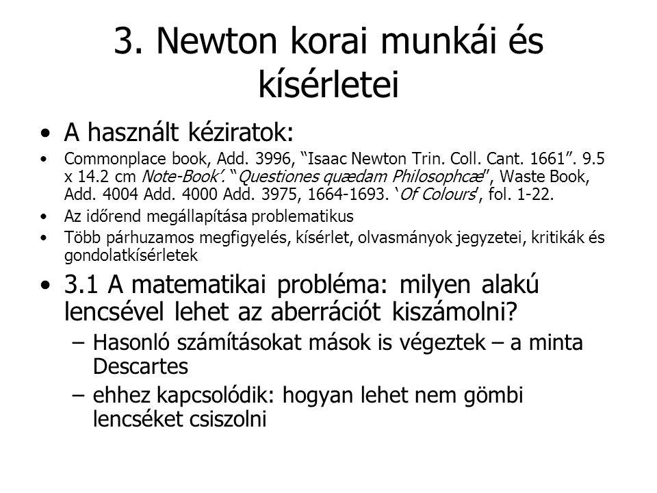 """3. Newton korai munkái és kísérletei A használt kéziratok: Commonplace book, Add. 3996, """"Isaac Newton Trin. Coll. Cant. 1661"""". 9.5 x 14.2 cm Note-Book"""