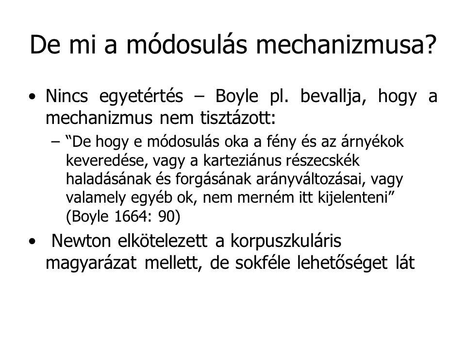 """De mi a módosulás mechanizmusa? Nincs egyetértés – Boyle pl. bevallja, hogy a mechanizmus nem tisztázott: –""""De hogy e módosulás oka a fény és az árnyé"""