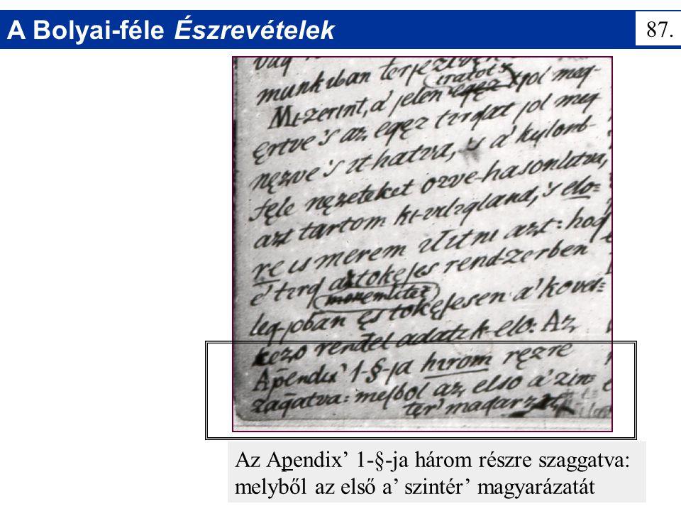 A Bolyai-féle Észrevételek Az Apendix' 1-§-ja három részre szaggatva: melyből az első a' szintér' magyarázatát 87.