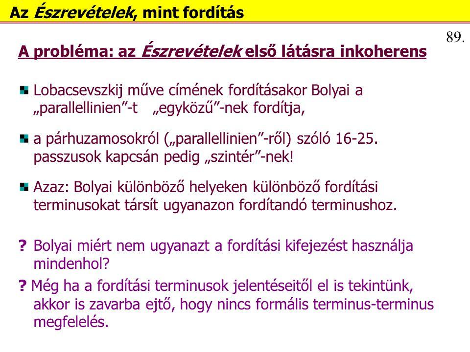 """A probléma: az Észrevételek első látásra inkoherens Lobacsevszkij műve címének fordításakor Bolyai a """"parallellinien -t """"egyközű -nek fordítja, a párhuzamosokról (""""parallellinien -ről) szóló 16-25."""