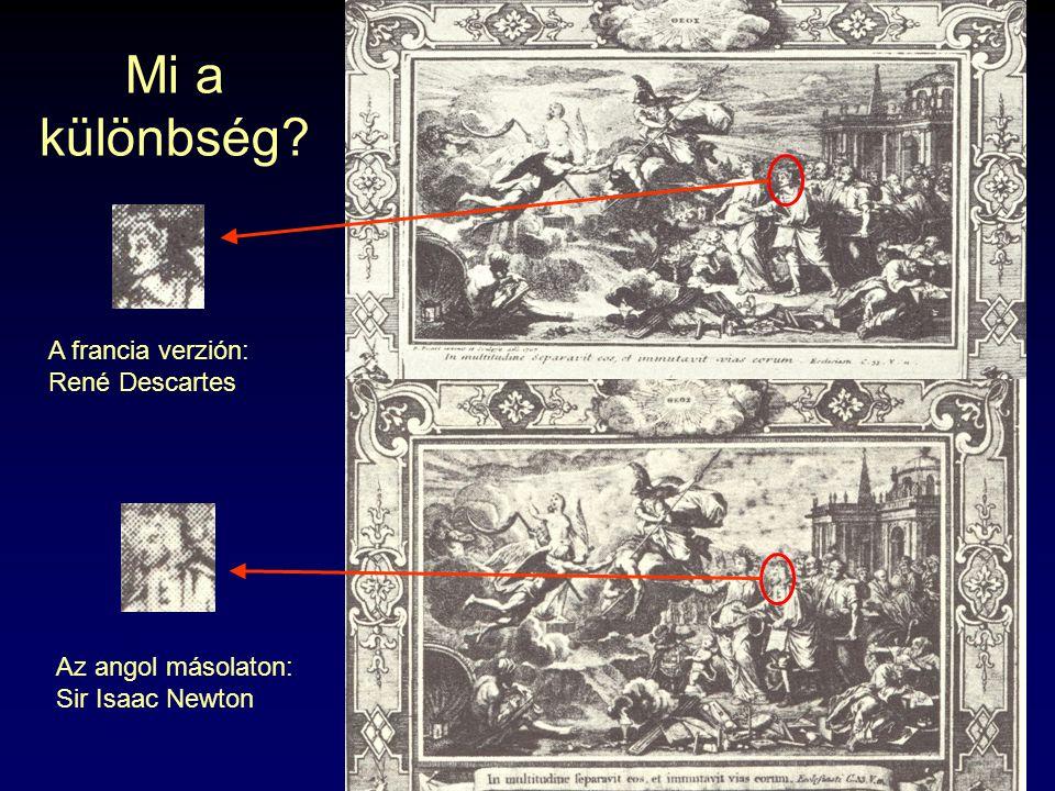 Mi a különbség? A francia verzión: René Descartes Az angol másolaton: Sir Isaac Newton