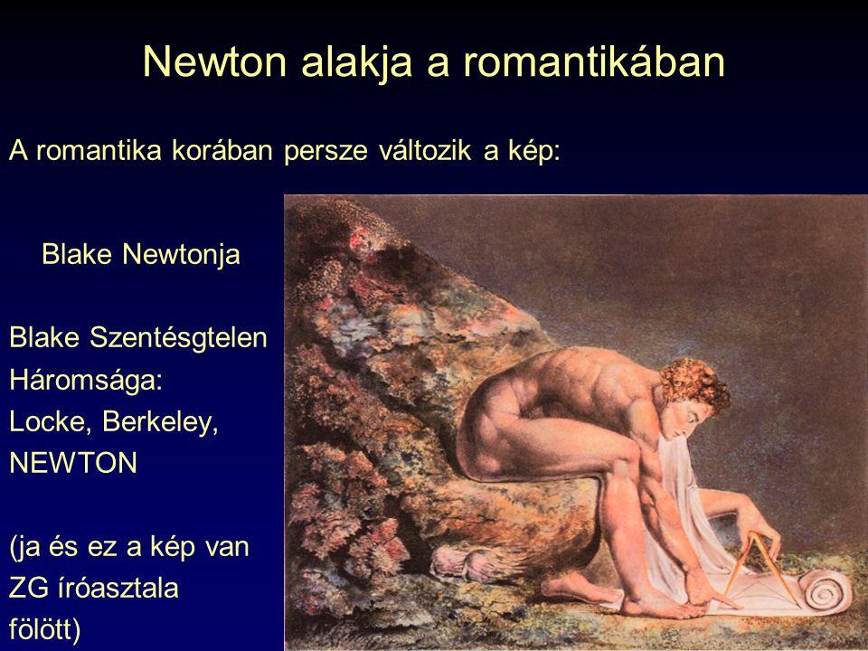 Newton alakja a romantikában A romantika korában persze változik a kép: Blake Newtonja Blake Szentésgtelen Háromsága: Locke, Berkeley, NEWTON (ja és e