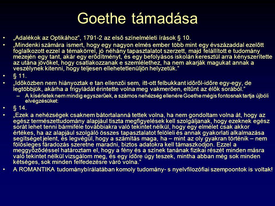 """Goethe támadása """"Adalékok az Optikához"""", 1791-2 az első színelméleti írások § 10. """"Mindenki számára ismert, hogy egy nagyon elmés ember több mint egy"""