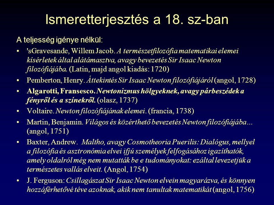 Ismeretterjesztés a 18. sz-ban A teljesség igénye nélkül: 'sGravesande, Willem Jacob. A természetfilozófia matematikai elemei kísérletek által alátáma