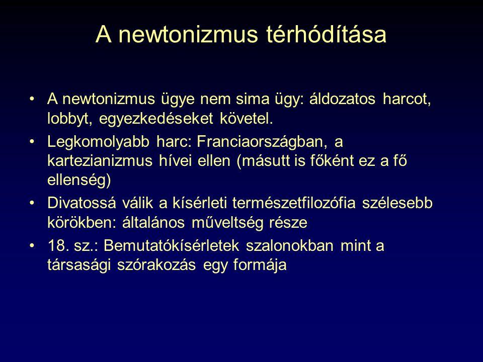A newtonizmus térhódítása A newtonizmus ügye nem sima ügy: áldozatos harcot, lobbyt, egyezkedéseket követel. Legkomolyabb harc: Franciaországban, a ka