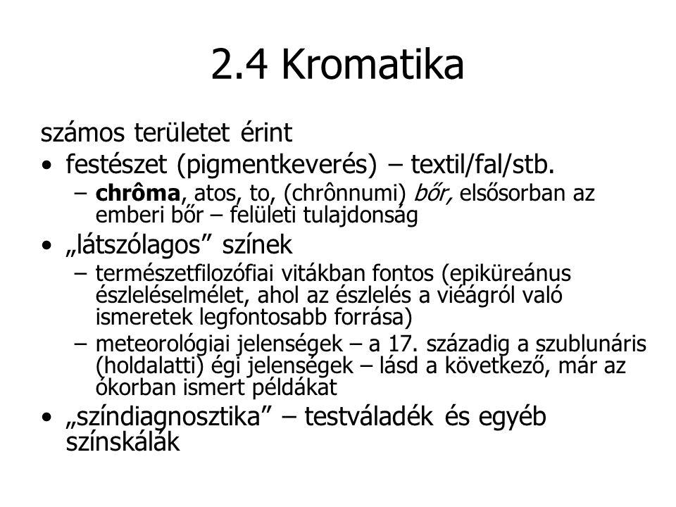 2.4 Kromatika számos területet érint festészet (pigmentkeverés) – textil/fal/stb. –chrôma, atos, to, (chrônnumi) bőr, elsősorban az emberi bőr – felül