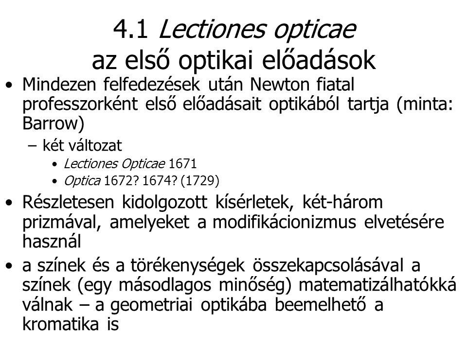 4.1 Lectiones opticae az első optikai előadások Mindezen felfedezések után Newton fiatal professzorként első előadásait optikából tartja (minta: Barro