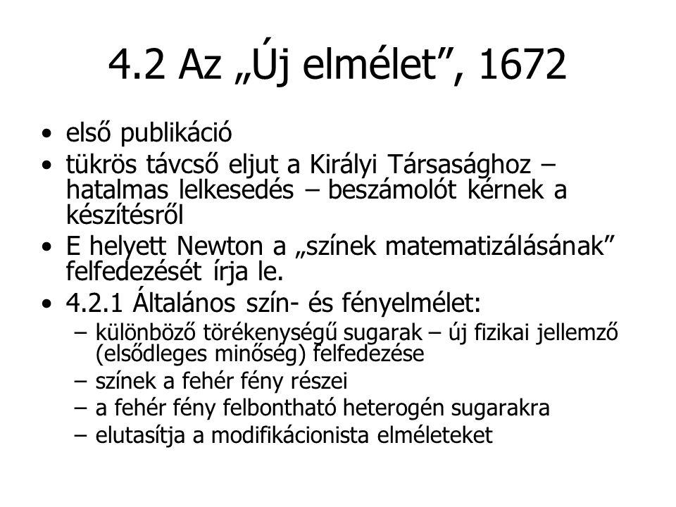 """4.2 Az """"Új elmélet"""", 1672 első publikáció tükrös távcső eljut a Királyi Társasághoz – hatalmas lelkesedés – beszámolót kérnek a készítésről E helyett"""