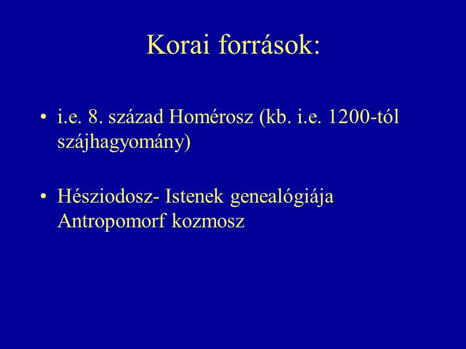 Korai források: i.e. 8. század Homérosz (kb. i.e.
