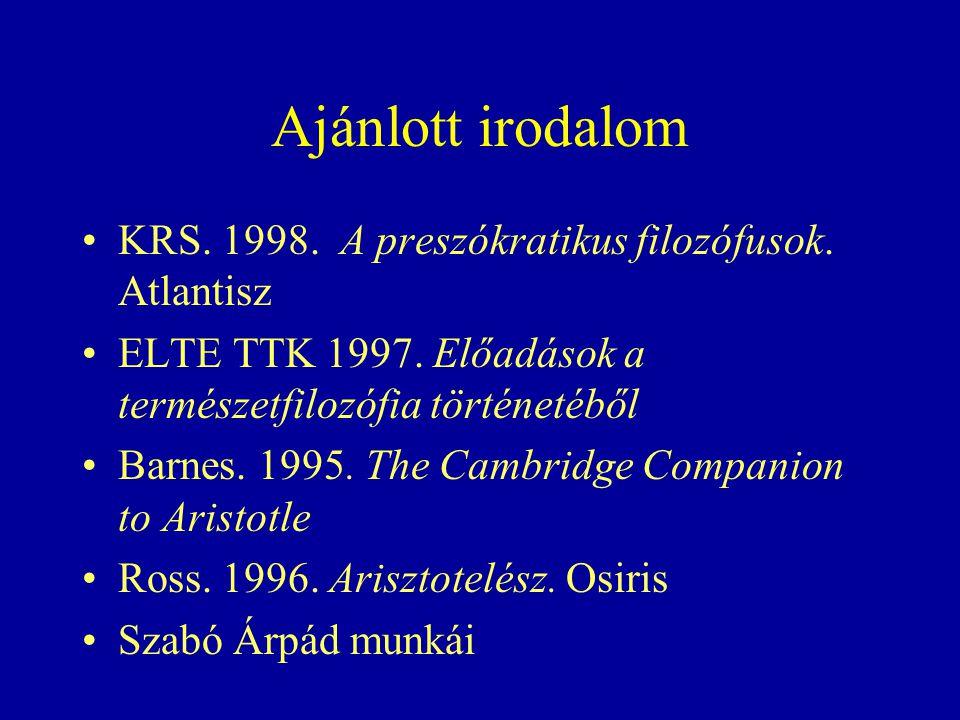 Ajánlott irodalom KRS. 1998. A preszókratikus filozófusok.