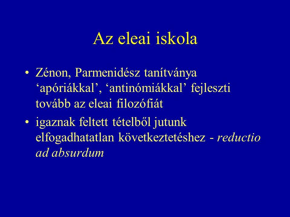 Az eleai iskola Zénon, Parmenidész tanítványa 'apóriákkal', 'antinómiákkal' fejleszti tovább az eleai filozófiát igaznak feltett tételből jutunk elfogadhatatlan következtetéshez - reductio ad absurdum
