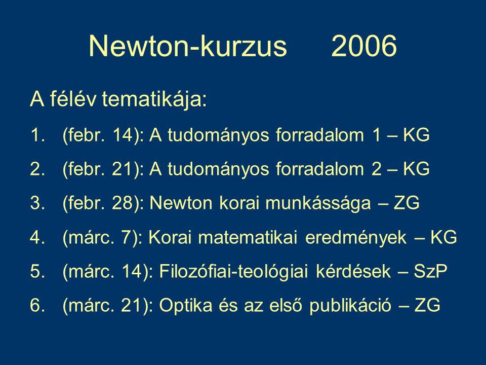 Newton-kurzus 2006 A félév tematikája: 1.(febr.14): A tudományos forradalom 1 – KG 2.(febr.