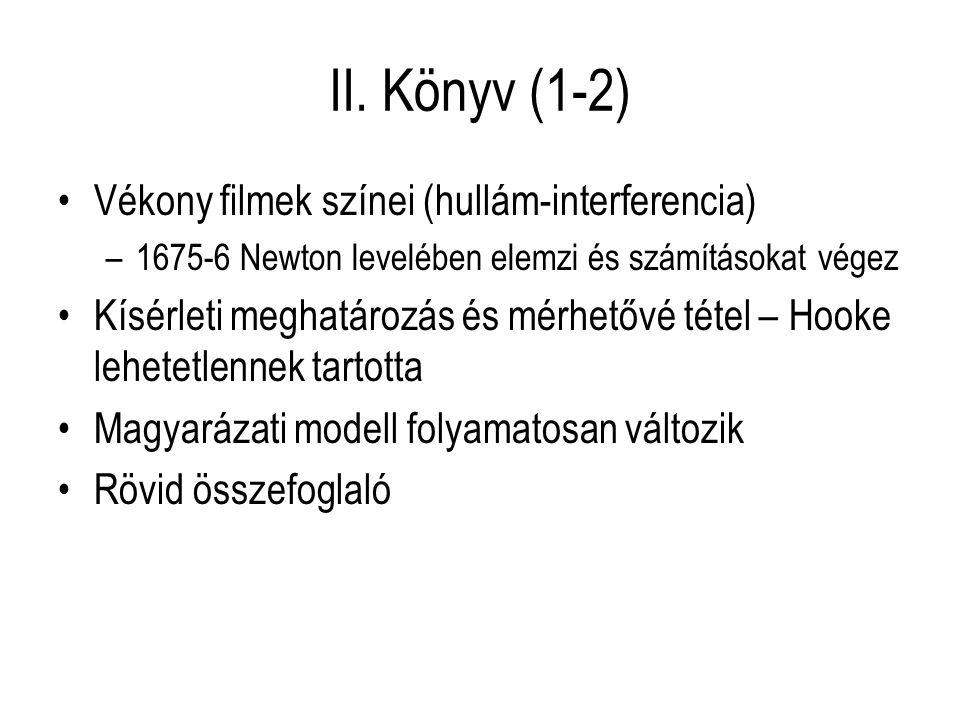 II. Könyv (1-2) Vékony filmek színei (hullám-interferencia) –1675-6 Newton levelében elemzi és számításokat végez Kísérleti meghatározás és mérhetővé