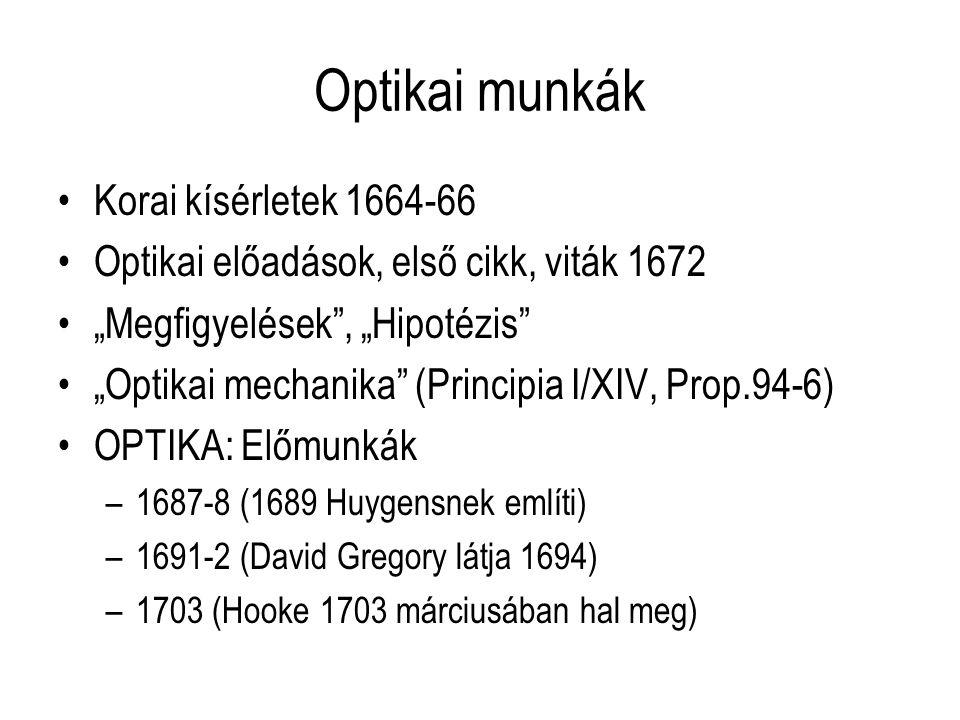 """Optikai munkák Korai kísérletek 1664-66 Optikai előadások, első cikk, viták 1672 """"Megfigyelések"""", """"Hipotézis"""" """"Optikai mechanika"""" (Principia I/XIV, Pr"""