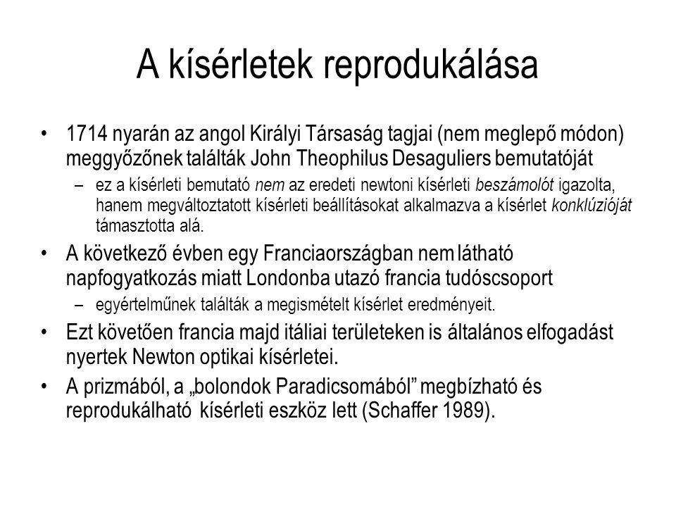 A kísérletek reprodukálása 1714 nyarán az angol Királyi Társaság tagjai (nem meglepő módon) meggyőzőnek találták John Theophilus Desaguliers bemutatój