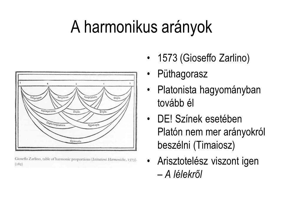 A harmonikus arányok 1573 (Gioseffo Zarlino) Püthagorasz Platonista hagyományban tovább él DE! Színek esetében Platón nem mer arányokról beszélni (Tim