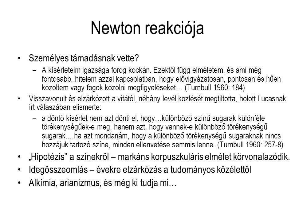 Newton reakciója Személyes támadásnak vette? –A kísérleteim igazsága forog kockán. Ezektől függ elméletem, és ami még fontosabb, hitelem azzal kapcsol