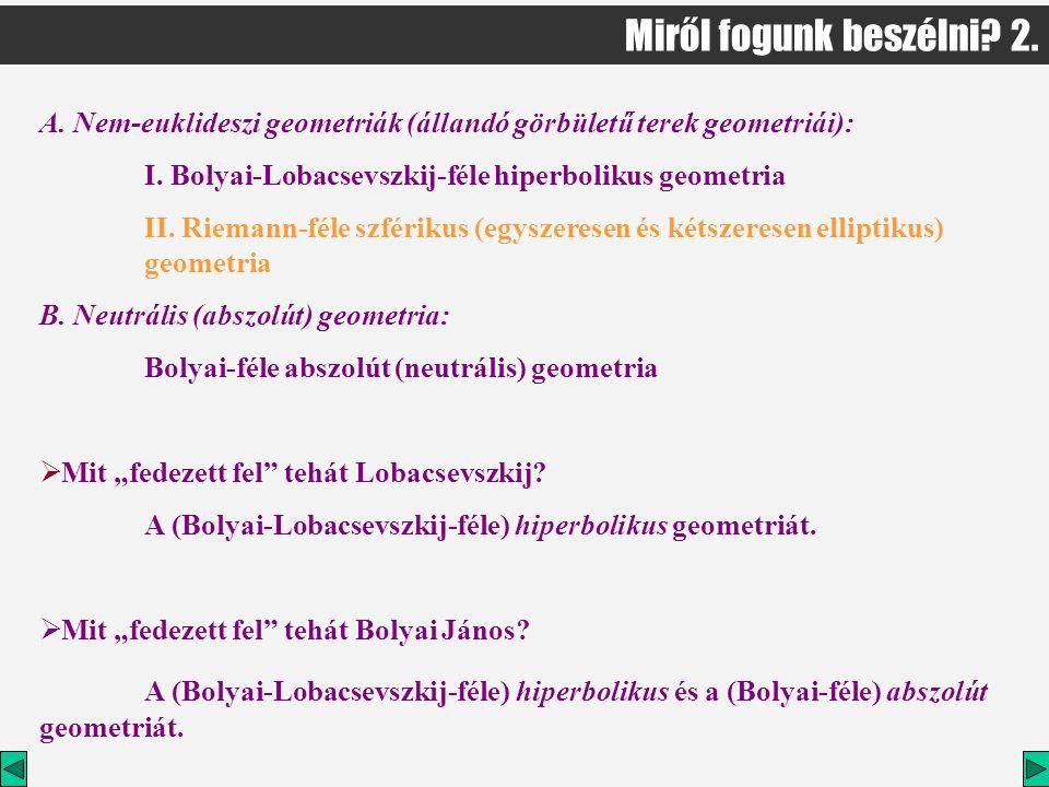 A.Nem-euklideszi geometriák (állandó görbületű terek geometriái): I.