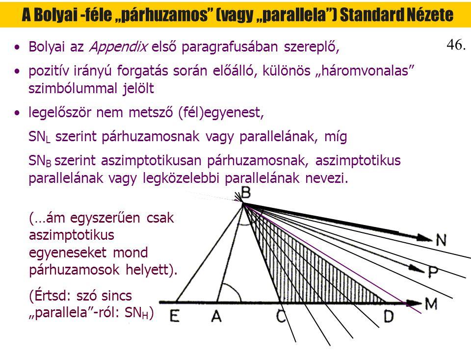 """A Bolyai -féle """"párhuzamos"""" (vagy """"parallela"""") Standard Nézete Bolyai az Appendix első paragrafusában szereplő, pozitív irányú forgatás során előálló,"""