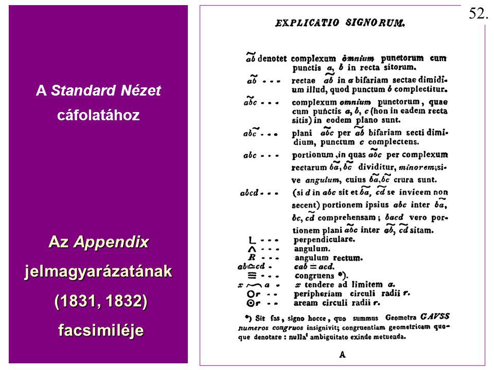 A Standard Nézet cáfolatához Az Appendix jelmagyarázatának (1831, 1832) (1831, 1832) facsimiléje facsimiléje 52.
