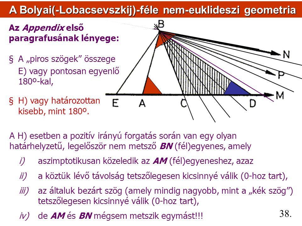 A H) esetben a pozitív irányú forgatás során van egy olyan határhelyzetű, legelőször nem metsző BN (fél)egyenes, amely i) aszimptotikusan közeledik az