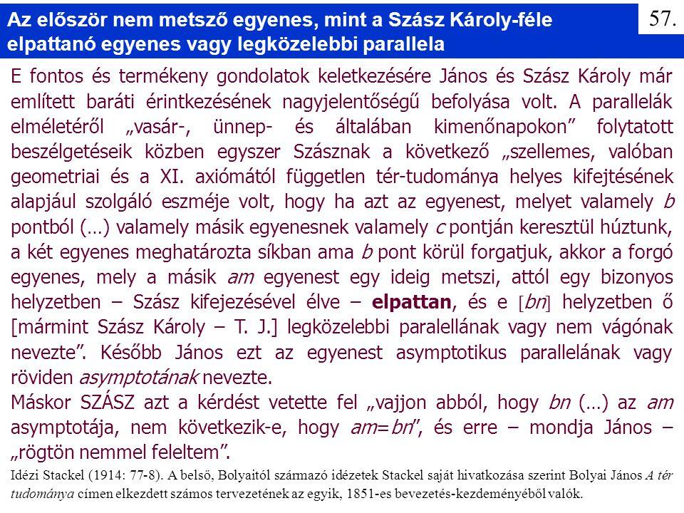 E fontos és termékeny gondolatok keletkezésére János és Szász Károly már említett baráti érintkezésének nagyjelentőségű befolyása volt. A parallelák e