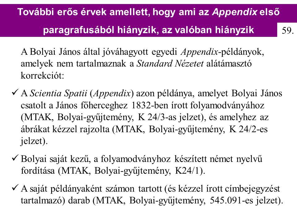 A Bolyai János által jóváhagyott egyedi Appendix-példányok, amelyek nem tartalmaznak a Standard Nézetet alátámasztó korrekciót: A Scientia Spatii (App