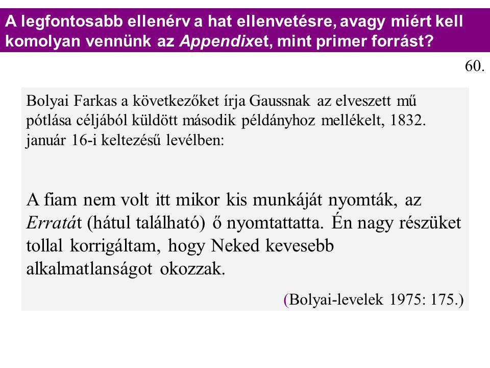 Bolyai Farkas a következőket írja Gaussnak az elveszett mű pótlása céljából küldött második példányhoz mellékelt, 1832. január 16-i keltezésű levélben