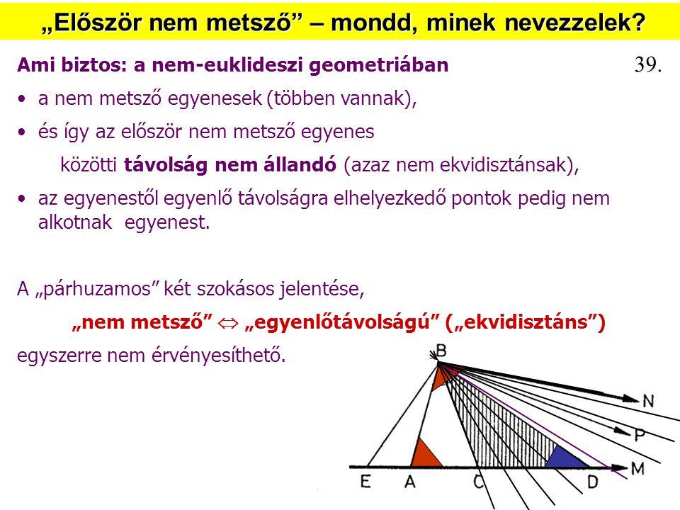 """""""Először nem metsző"""" – mondd, minek nevezzelek? Ami biztos: a nem-euklideszi geometriában a nem metsző egyenesek (többen vannak), és így az először ne"""