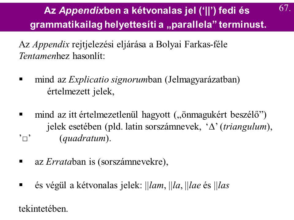 Az Appendix rejtjelezési eljárása a Bolyai Farkas-féle Tentamenhez hasonlít:  mind az Explicatio signorumban (Jelmagyarázatban) értelmezett jelek, 