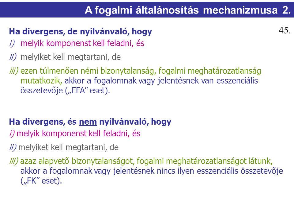 A fogalmi általánosítás mechanizmusa 2. Ha divergens, de nyilvánvaló, hogy i) melyik komponenst kell feladni, és ii) melyiket kell megtartani, de iii)