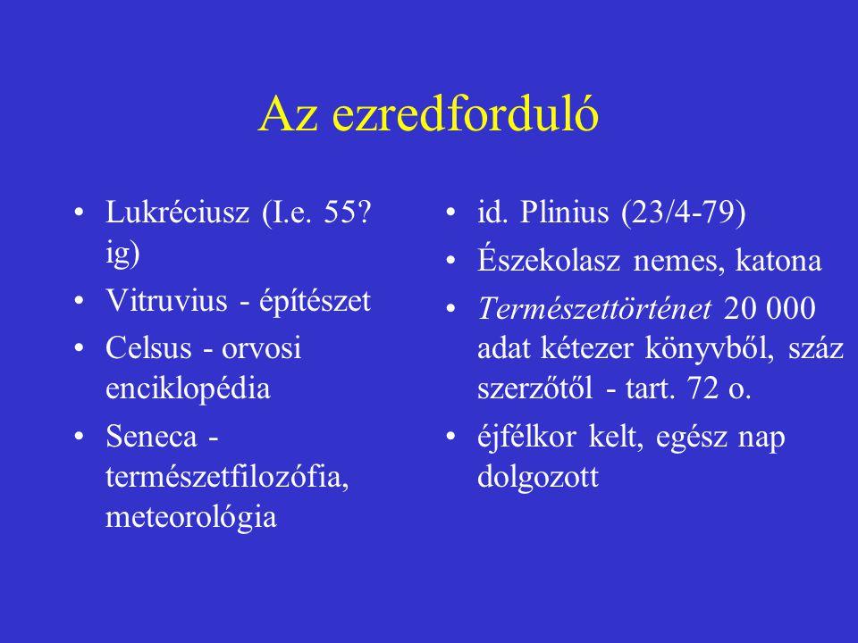 Az ezredforduló Lukréciusz (I.e. 55? ig) Vitruvius - építészet Celsus - orvosi enciklopédia Seneca - természetfilozófia, meteorológia id. Plinius (23/