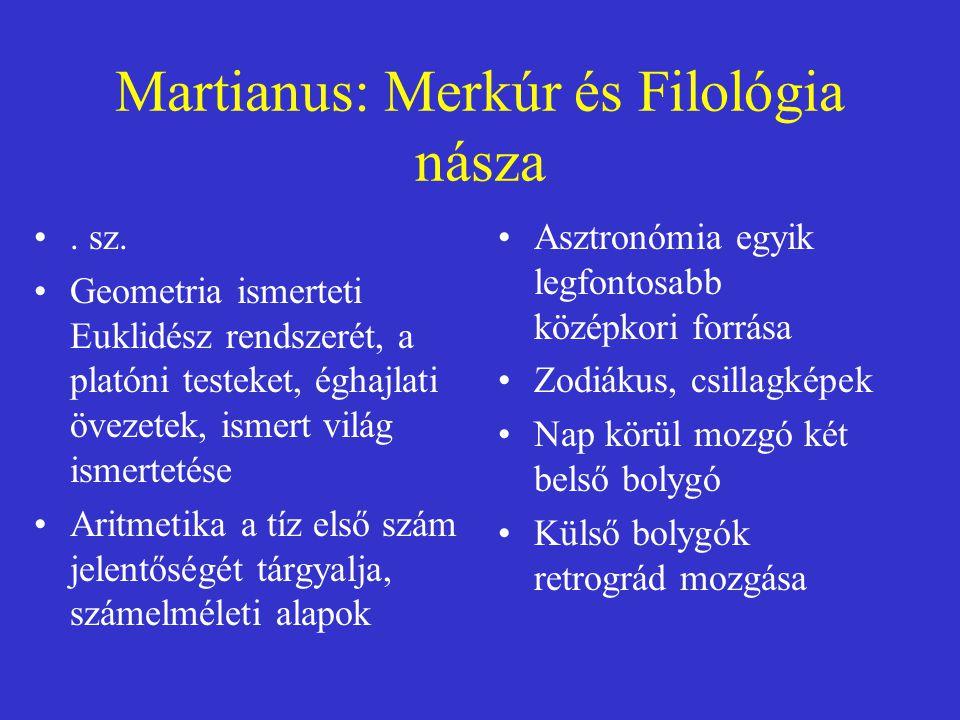 Martianus: Merkúr és Filológia násza. sz. Geometria ismerteti Euklidész rendszerét, a platóni testeket, éghajlati övezetek, ismert világ ismertetése A