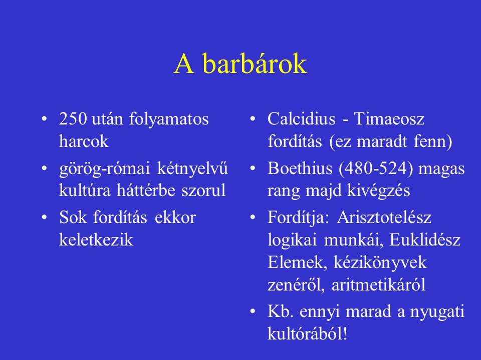 A barbárok 250 után folyamatos harcok görög-római kétnyelvű kultúra háttérbe szorul Sok fordítás ekkor keletkezik Calcidius - Timaeosz fordítás (ez ma