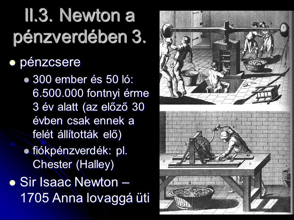 II.3. Newton a pénzverdében 3. pénzcsere pénzcsere 300 ember és 50 ló: 6.500.000 fontnyi érme 3 év alatt (az előző 30 évben csak ennek a felét állítot