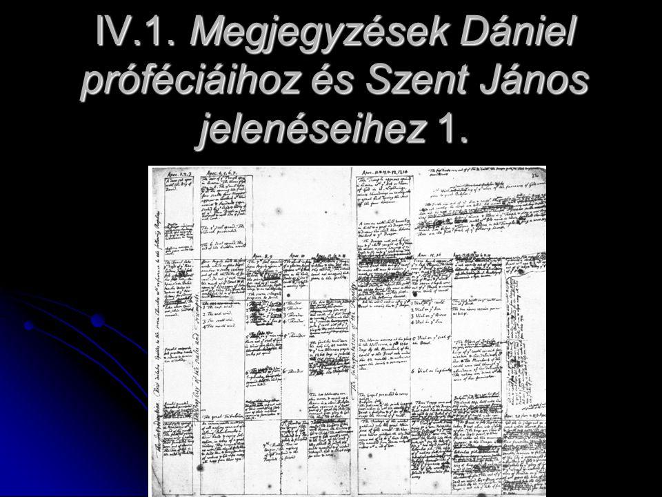 IV.1. Megjegyzések Dániel próféciáihoz és Szent János jelenéseihez 1.