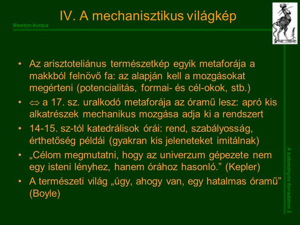 IV. A mechanisztikus világkép Az arisztoteliánus természetkép egyik metaforája a makkból felnövő fa: az alapján kell a mozgásokat megérteni (potencial