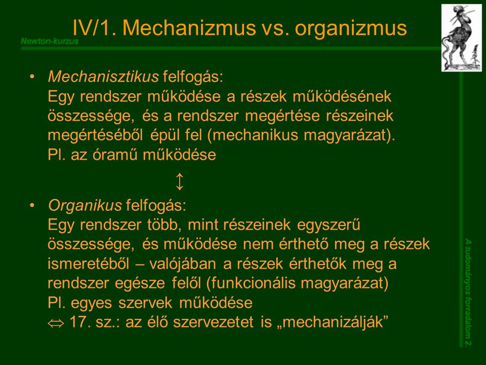 IV/1. Mechanizmus vs.