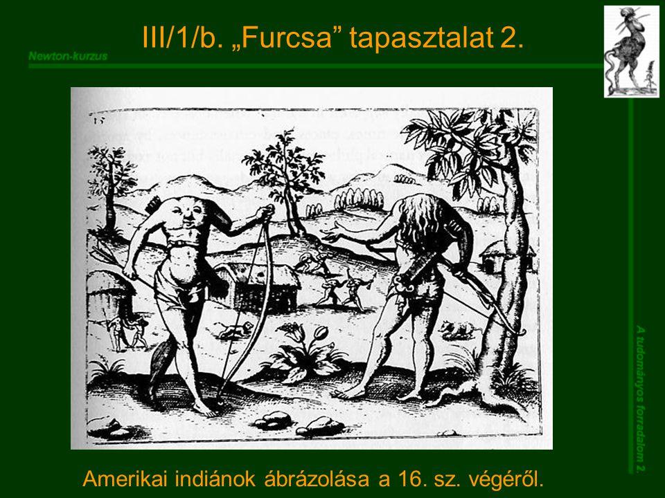"""III/1/b. """"Furcsa tapasztalat 2. Amerikai indiánok ábrázolása a 16. sz. végéről."""