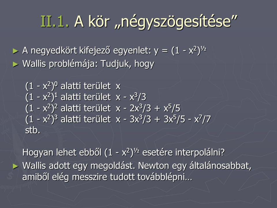 """II.1. A kör """"négyszögesítése"""" ► A negyedkört kifejező egyenlet: y = (1 - x 2 ) ½ ► Wallis problémája: Tudjuk, hogy (1 - x 2 ) 0 alatti terület x (1 -"""