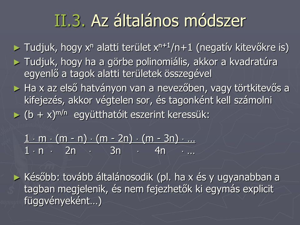II.3. Az általános módszer ► Tudjuk, hogy x n alatti terület x n+1 /n+1 (negatív kitevőkre is) ► Tudjuk, hogy ha a görbe polinomiális, akkor a kvadrat